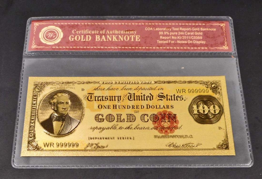 99.9% 24K ONE HUNDRED DOLLAR GOLD BANKNOTE W/COA