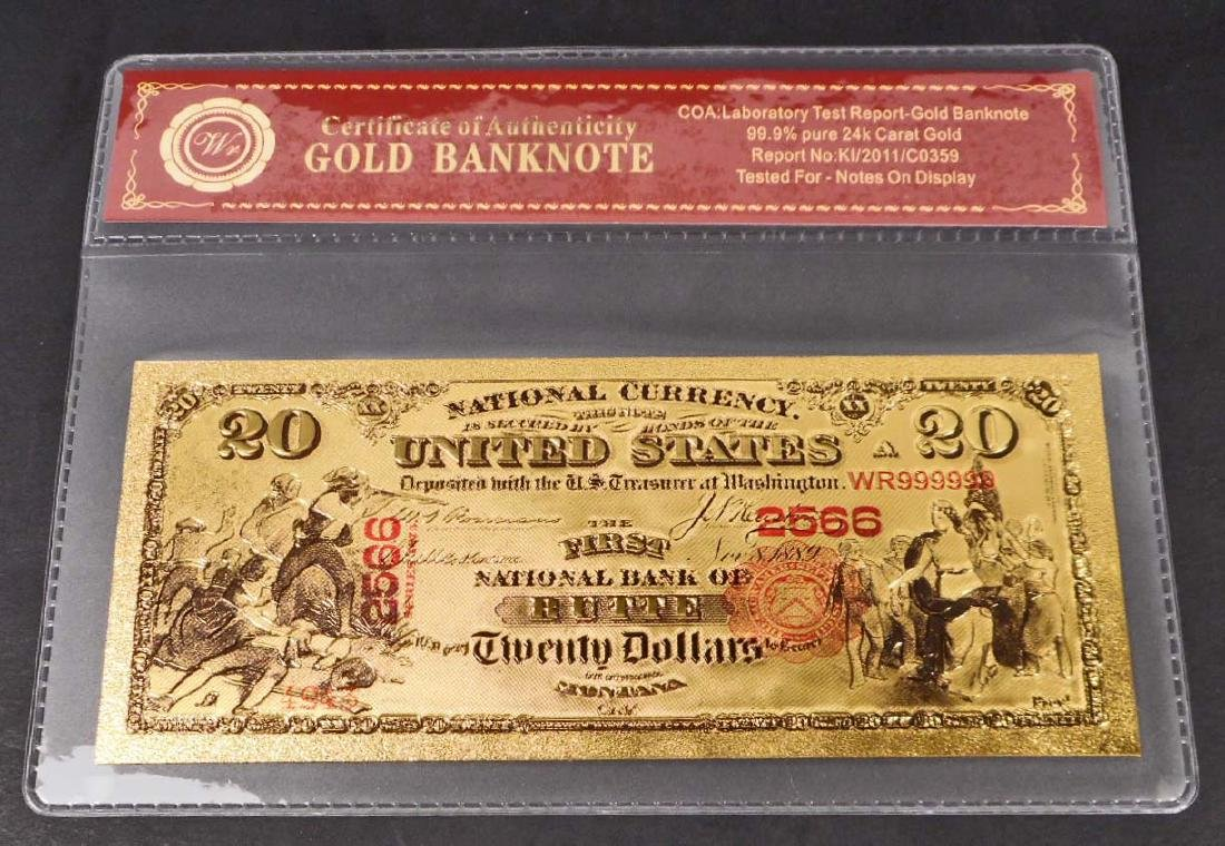 99.9% 24K TWENTY DOLLAR GOLD BANKNOTE W/COA