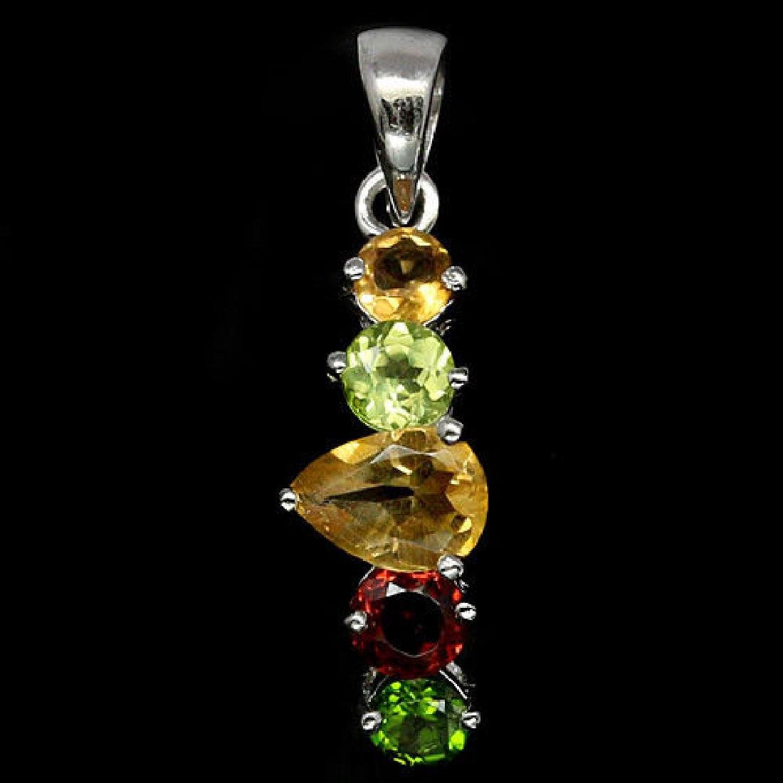AMAZING REAL CITRINE, PERIDOT, GARNET & DIOPSIDE 925