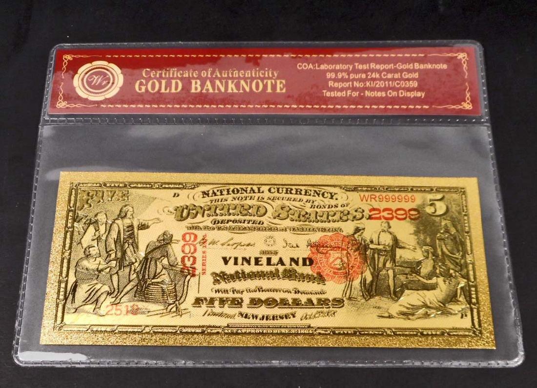 99.9% 24K FIVE DOLLAR GOLD BANKNOTE W/COA