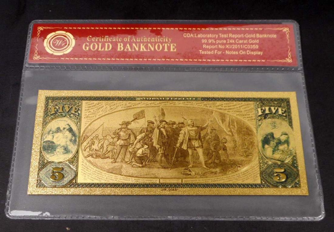 99.9% 24K FIVE DOLLAR GOLD BANKNOTE W/COA - 2