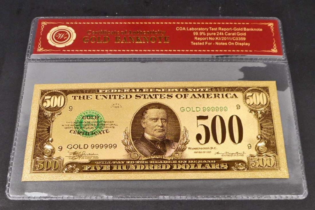 99.9% 24K FIVE HUNDRED DOLLAR GOLD BANKNOTE W/COA