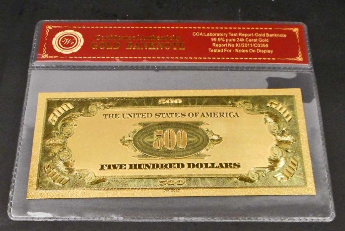 99.9% 24K FIVE HUNDRED DOLLAR GOLD BANKNOTE W/COA - 2