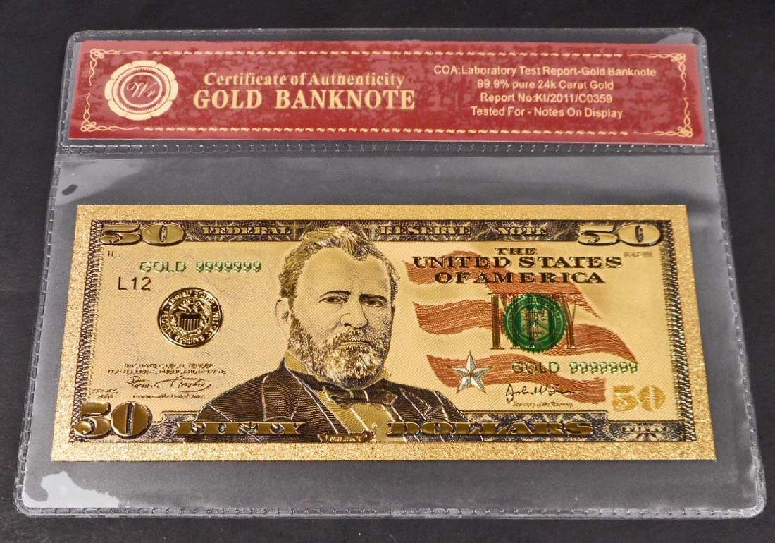 99.9% 24K FIFTY DOLLAR GOLD BANKNOTE W/COA