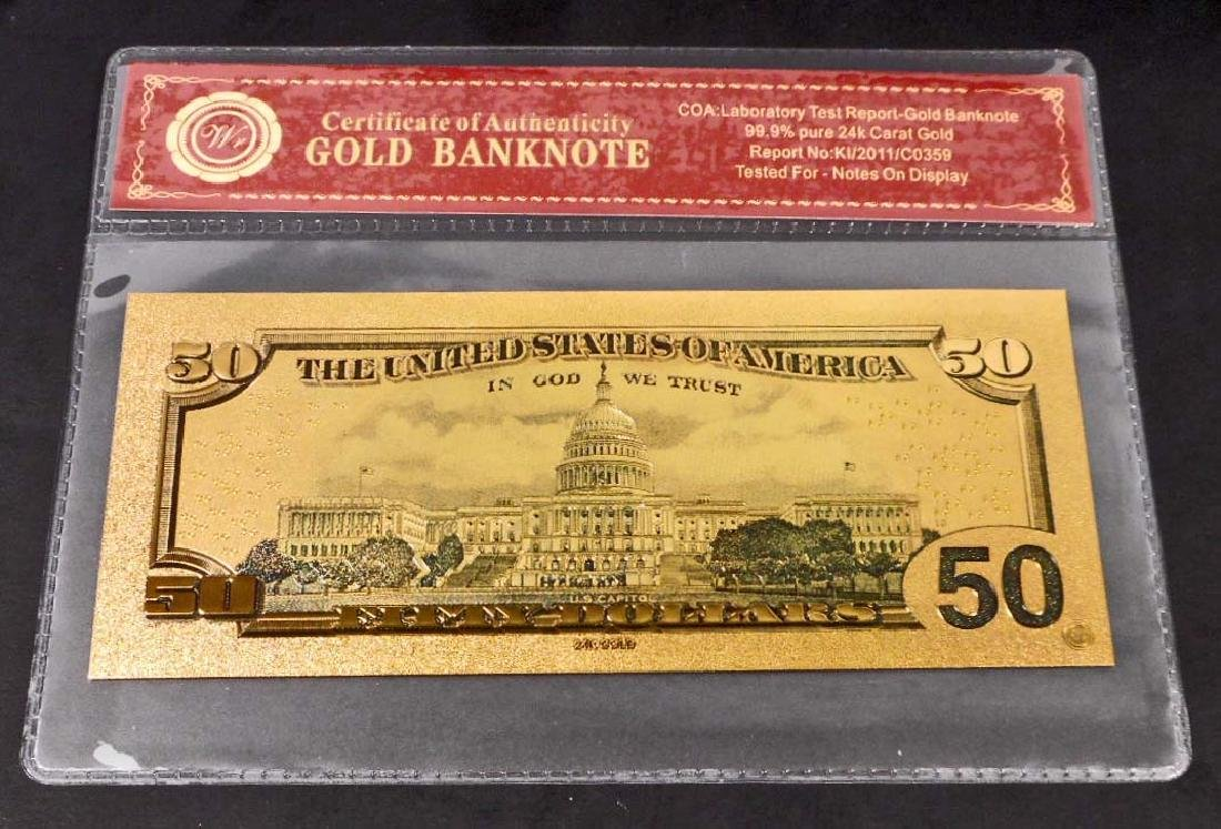 99.9% 24K FIFTY DOLLAR GOLD BANKNOTE W/COA - 2