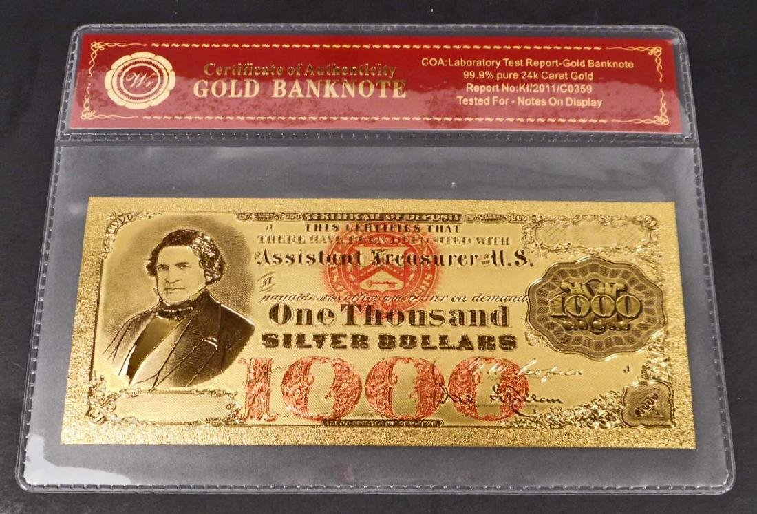 99.9% 24K ONE THOUSAND DOLLAR GOLD BANKNOTE W/COA