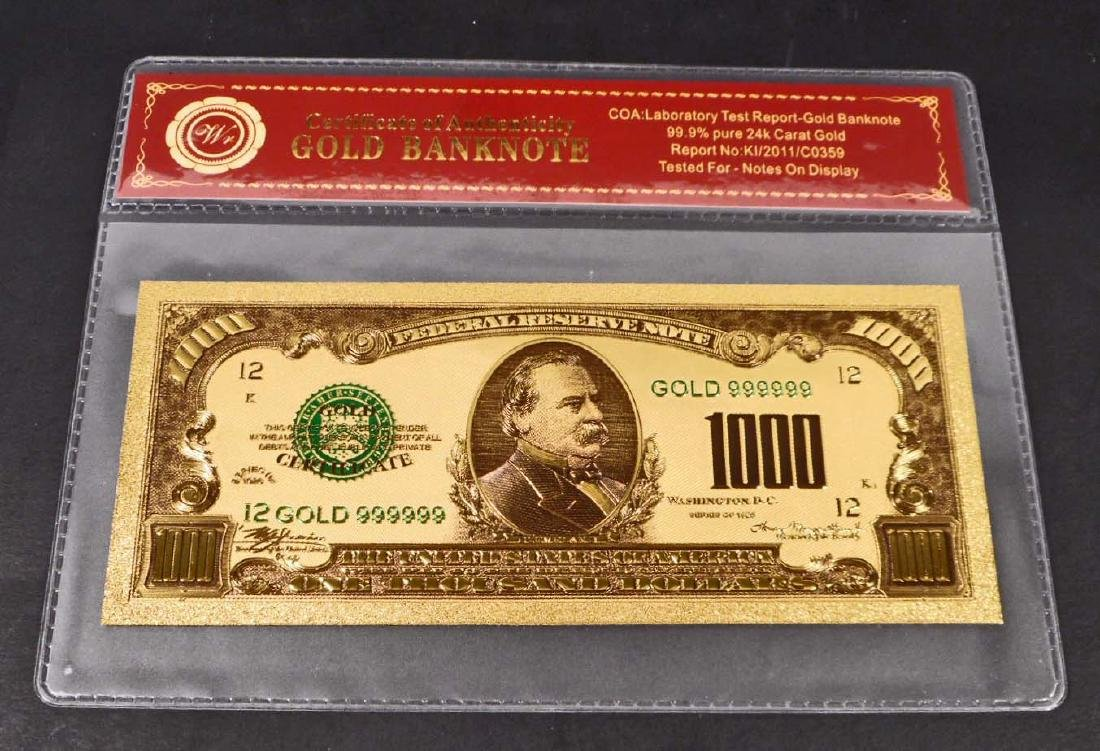 99.9% 24K ONE THOUSAND DOLLAR GOLD BANKNOTE W/COA