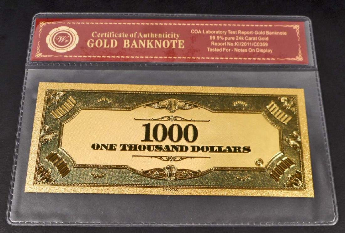 99.9% 24K ONE THOUSAND DOLLAR GOLD BANKNOTE W/COA - 2