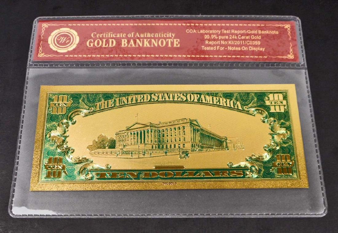 99.9% 24K TEN DOLLAR GOLD BANKNOTE W/COA - 2