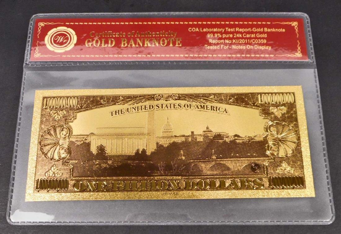 99.9% 24K ONE BILLION DOLLAR GOLD BANKNOTE W/COA - 2