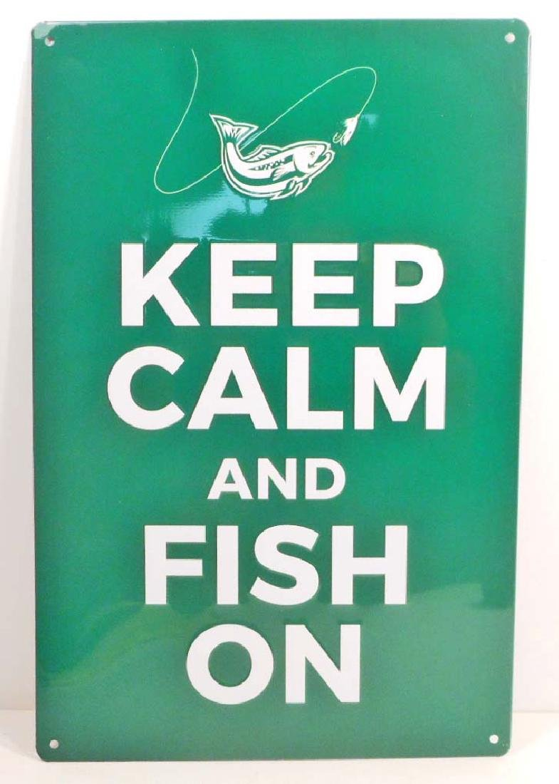 KEEP CALM AND FISH FUNNY EMBOSSED METAL SIGN