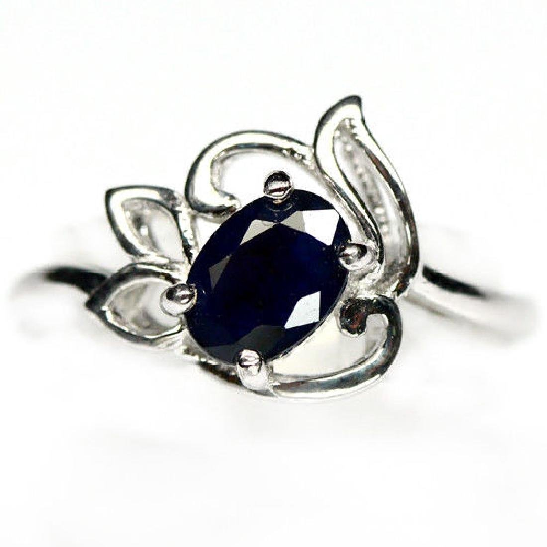 ALLURING! NATURAL! 5 X 7 mm. BLUE SAPPHIRE STERLING 925