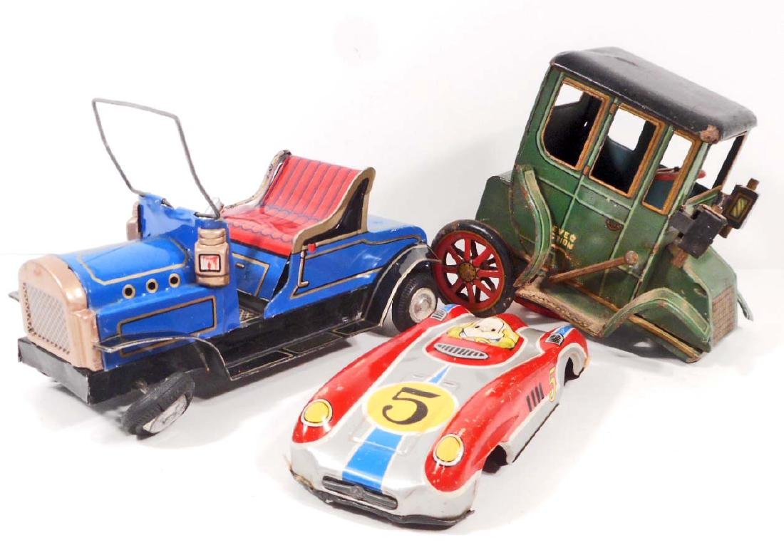 LOT OF 3 VINTAGE TIN LITHO FRICTION TOYS CARS