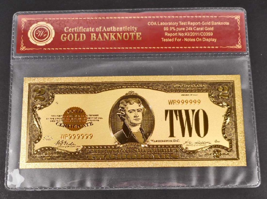 99.9% 24K TWO DOLLAR GOLD BANKNOTE W/ COA