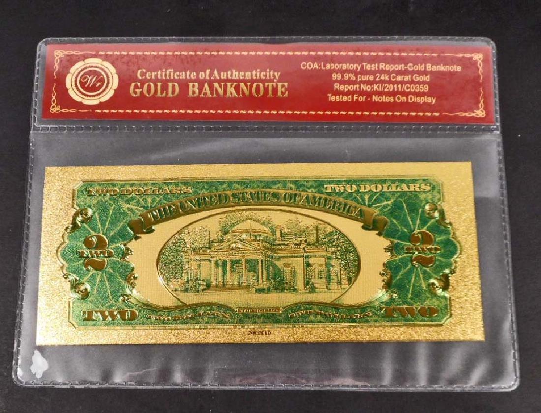 99.9% 24K TWO DOLLAR GOLD BANKNOTE W/ COA - 2