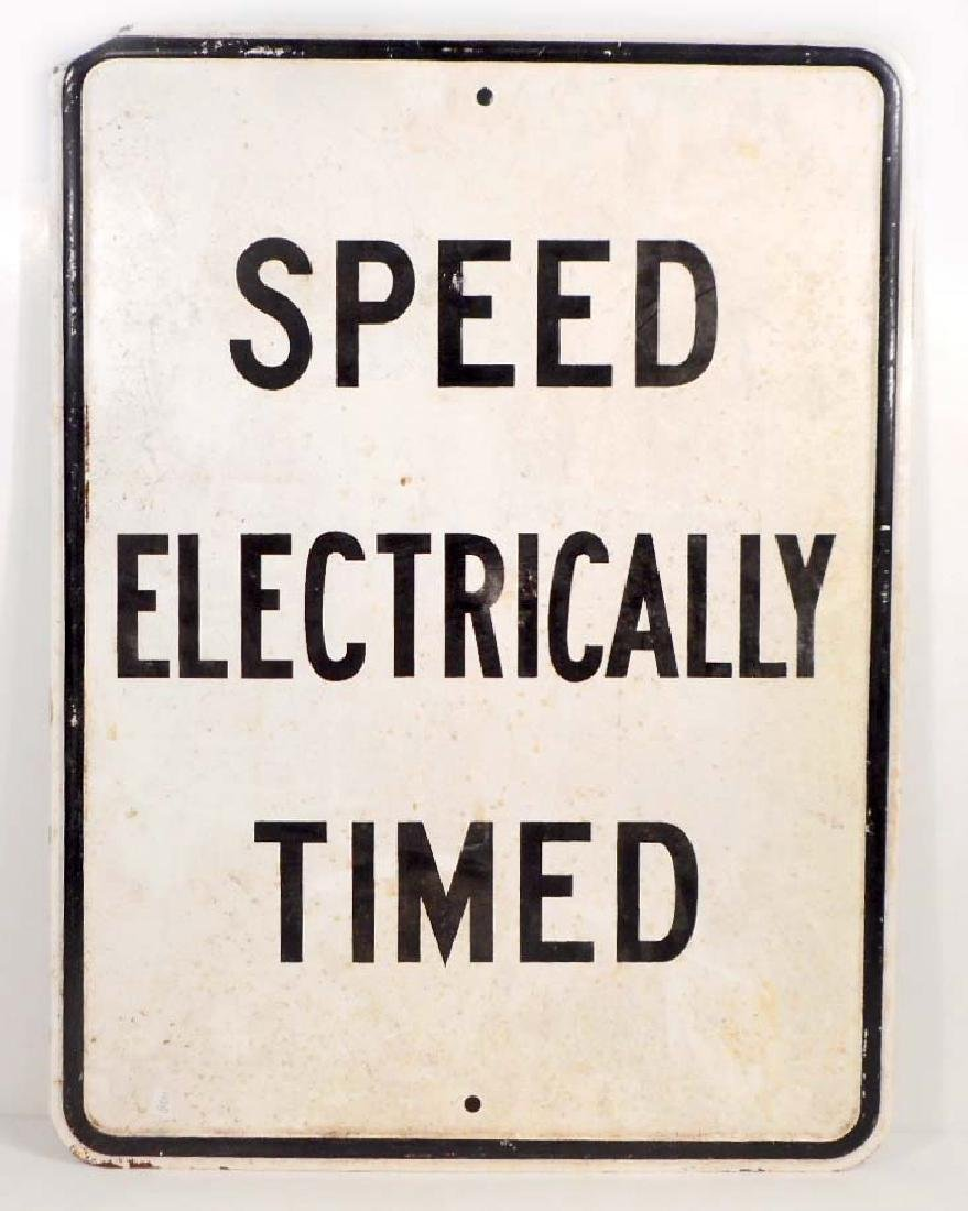 VINTAGE SPEED ELECTRICALLY TIMED METAL SIGN