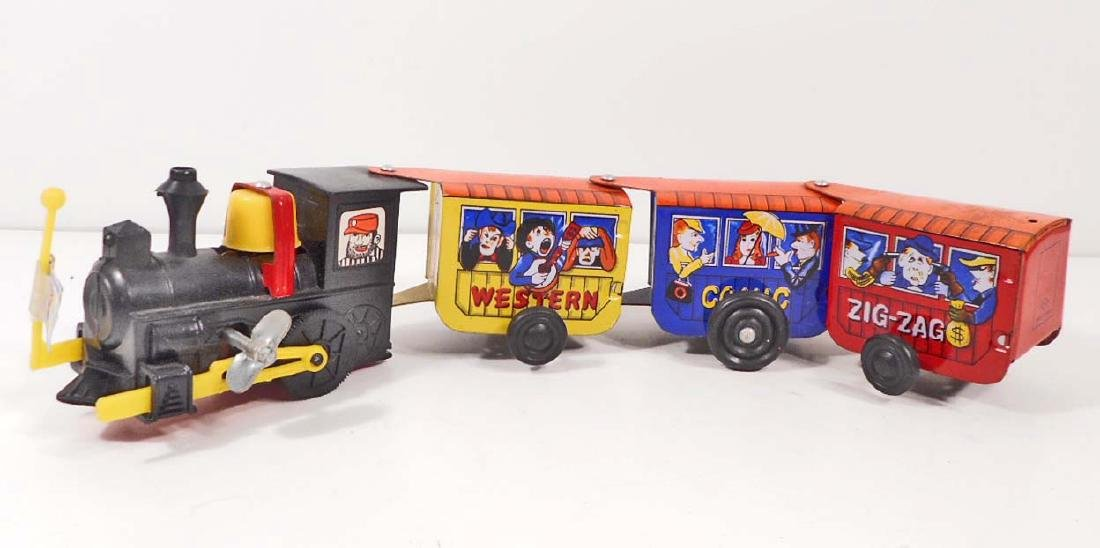 VINTAGE ZIG ZAG EXPRESS WIND UP TIN TOY TRAIN