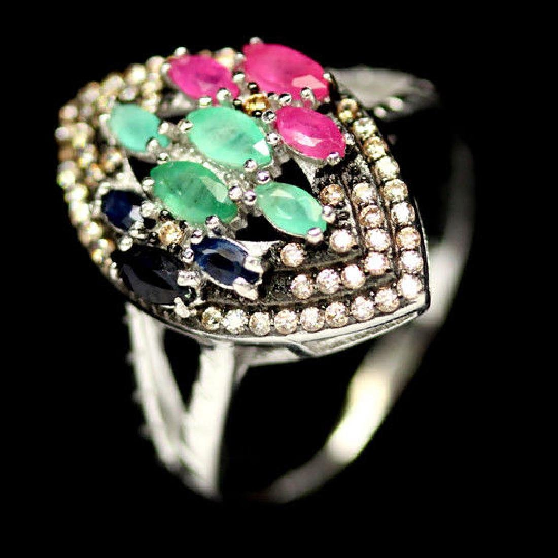 REAL! GREEN EMERALD, RED RUBY, BLUE SAPPHIRE & CZ TWO