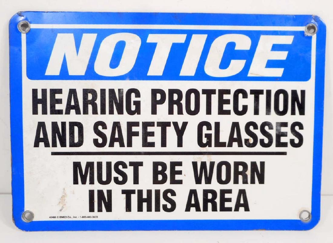 VINTAGE NOTICE HEARING PROTECTION METAL SIGN