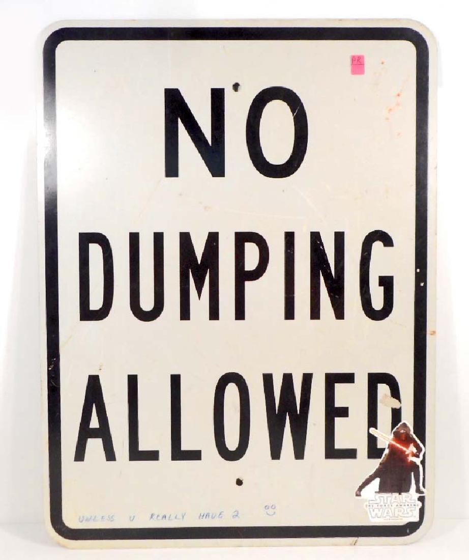 VINTAGE NO DUMPING ALLOWED METAL SIGN