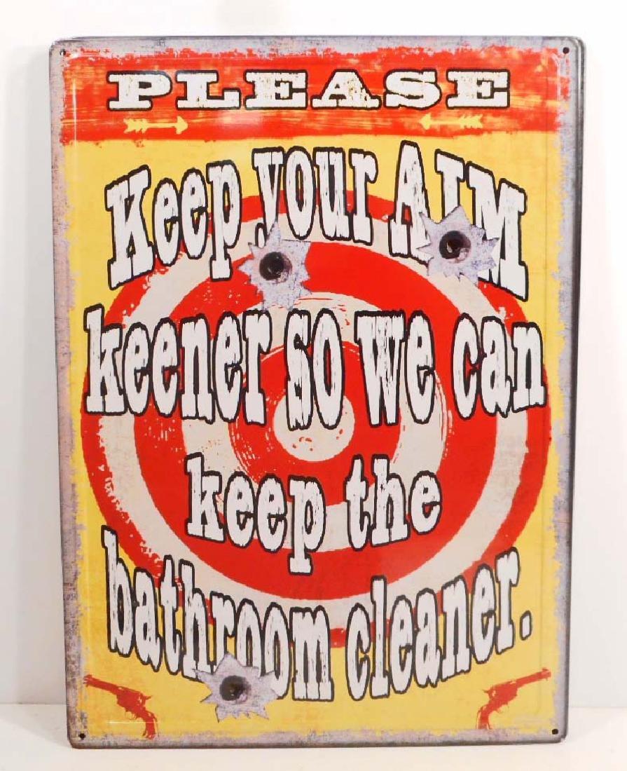 BATHROOM CLEANER FUNNY EMBOSSED METAL SIGN