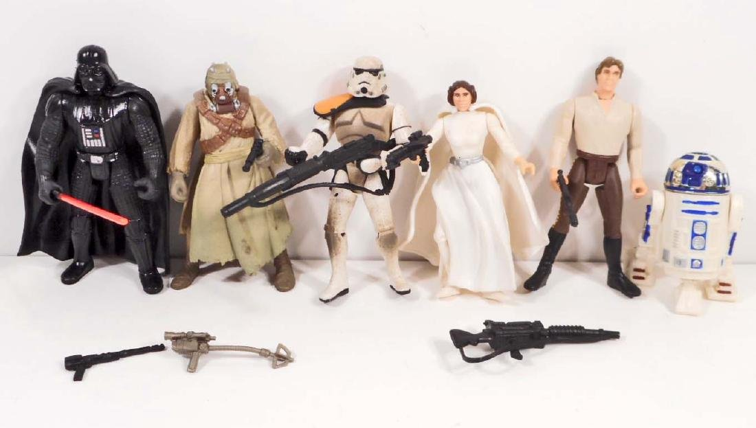 LOT OF 6 VINTAGE STAR WARS ACTION FIGURES W/