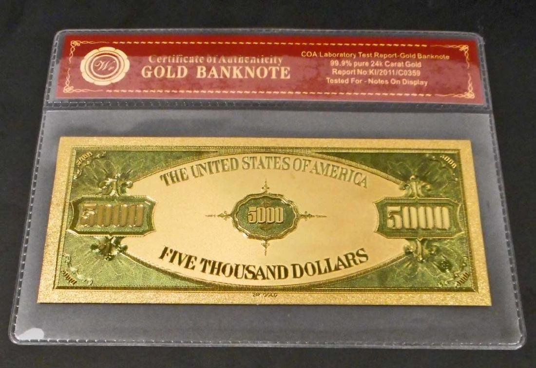 99.9% 24K FIVE THOUSAND DOLLAR GOLD BANKNOTE W/COA - 2