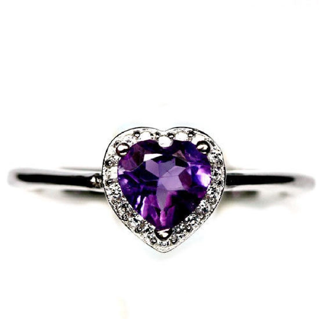 DAZZLING! NATURAL! PURPLE AMETHYST & WHITE CZ STERLING