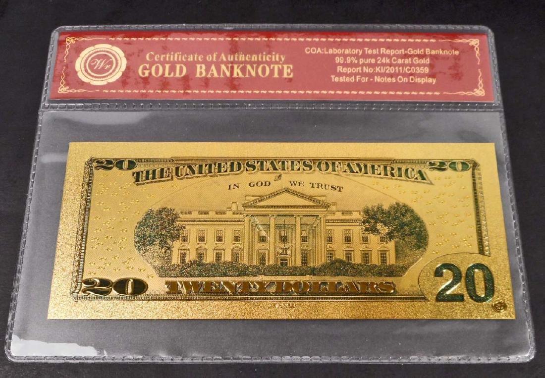 99.9% 24K TWENTY DOLLAR GOLD BANKNOTE W/COA - 2