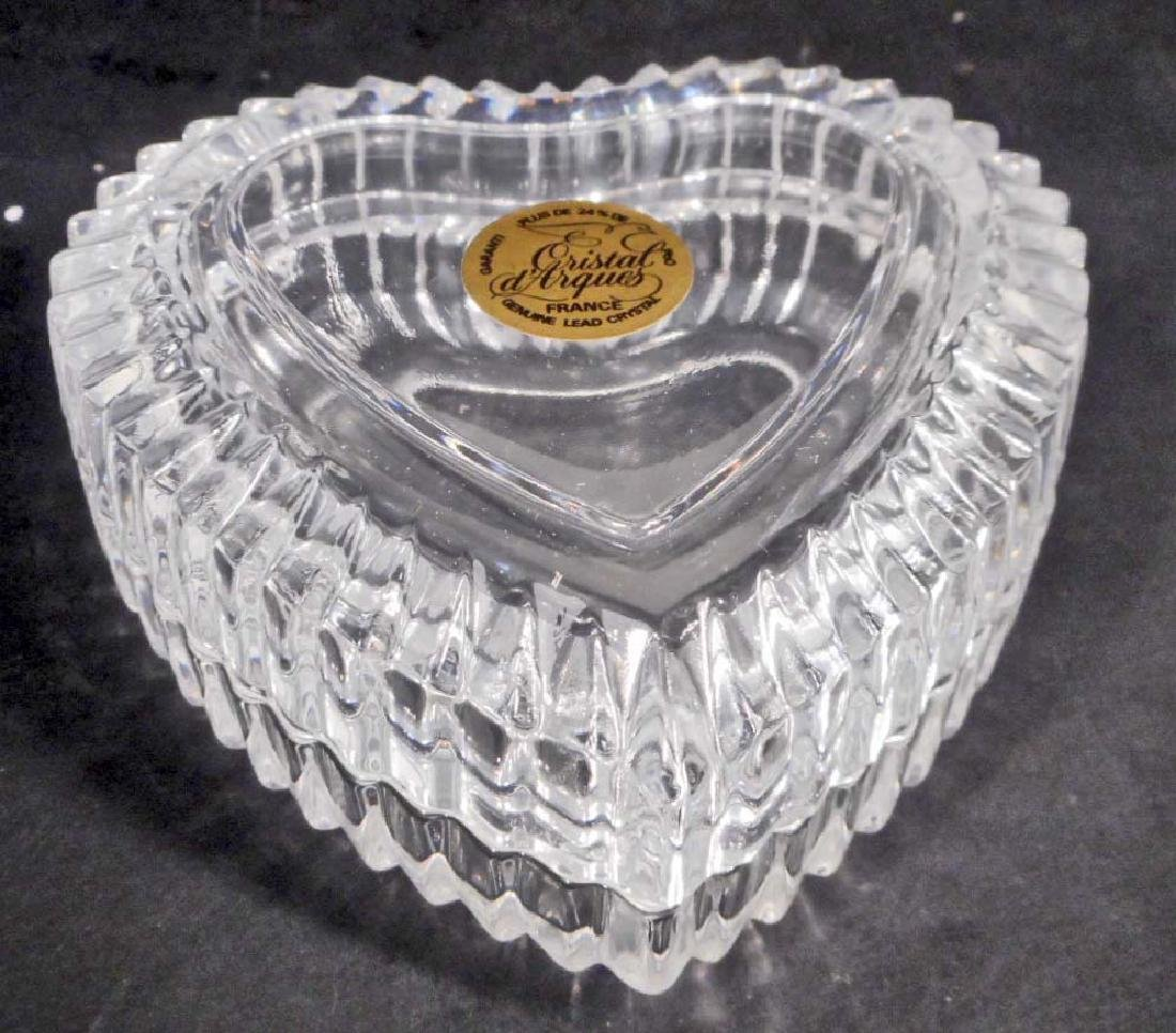 VINTAGE FRENCH LEAD CRYSTAL HEART TRINKET BOX