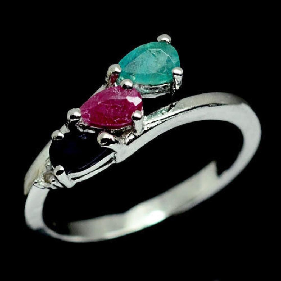 MARVELOUS! NATURAL! GREEN EMERALD, RUBY, SAPPHIRE &