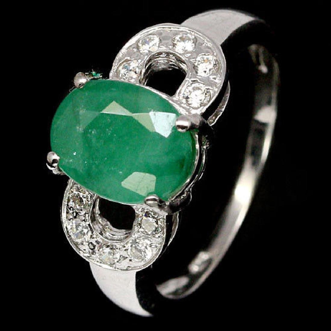 ATTRACTIVE REAL 7 X 9mm. GREEN EMERALD & CZ 925
