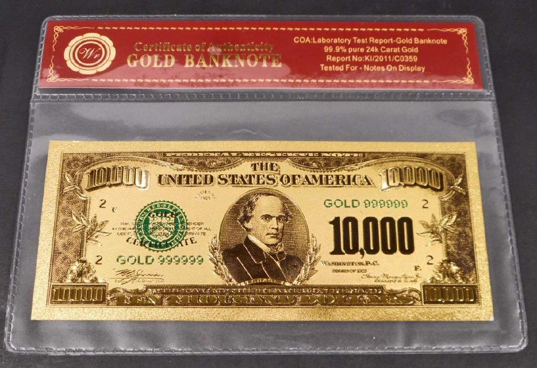 99.9% 24K TEN THOUSAND DOLLAR GOLD BANKNOTE W/COA