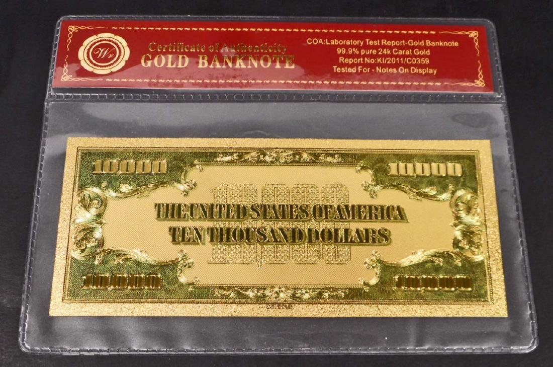 99.9% 24K TEN THOUSAND DOLLAR GOLD BANKNOTE W/COA - 2