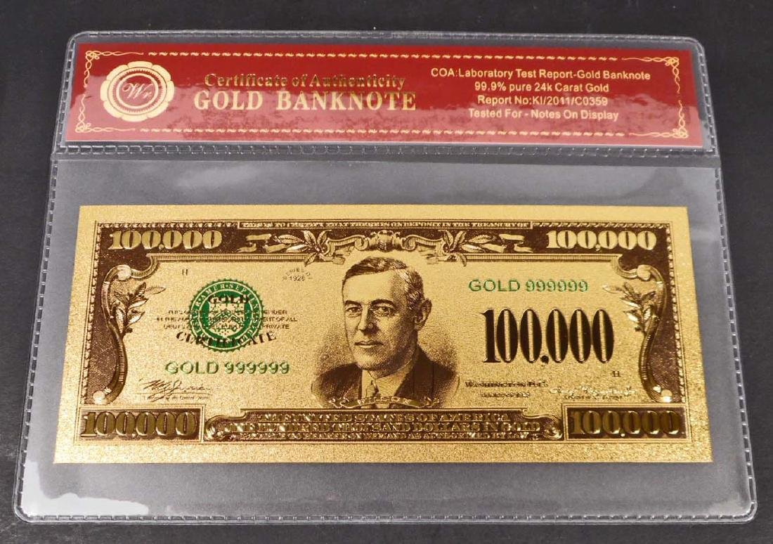 99.9% 24K ONE HUNDRED THOUSAND DOLLAR GOLD BANKNOTE