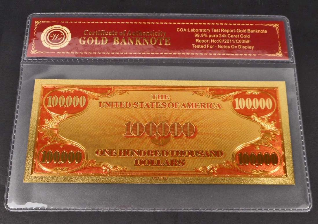 99.9% 24K ONE HUNDRED THOUSAND DOLLAR GOLD BANKNOTE - 2