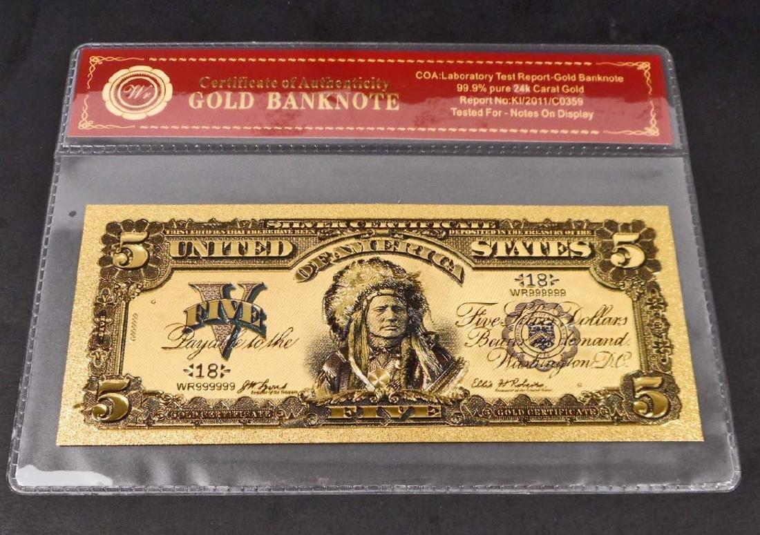 99.9% 24K ONE DOLLAR GOLD BANKNOTE W/COA