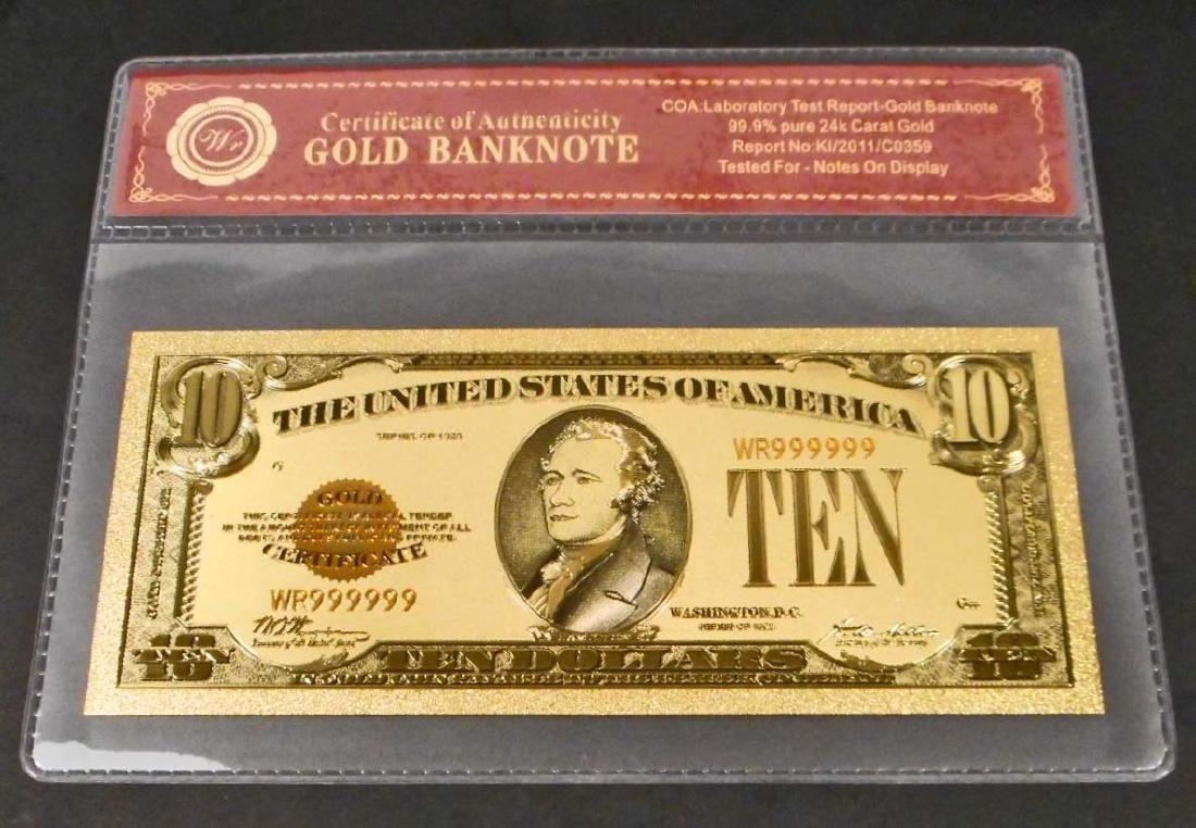 99.9% 24K TEN DOLLAR GOLD BANKNOTE W/COA