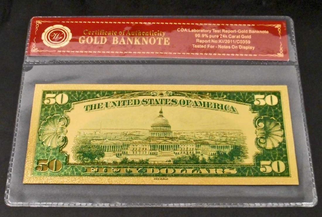 99.9% 24K FIFTY DOLLAR GOLD BANKNOTE W/COA - 2