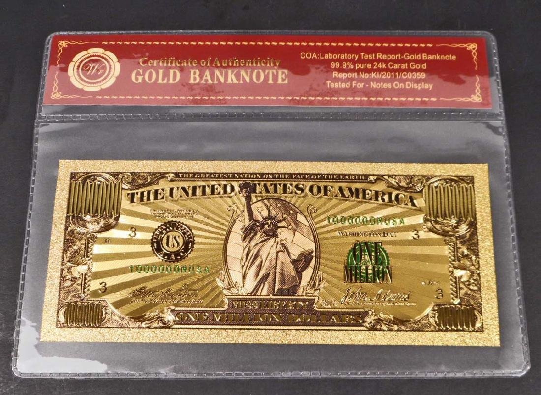99.9% 24K ONE MILLION DOLLAR GOLD BANKNOTE W/COA