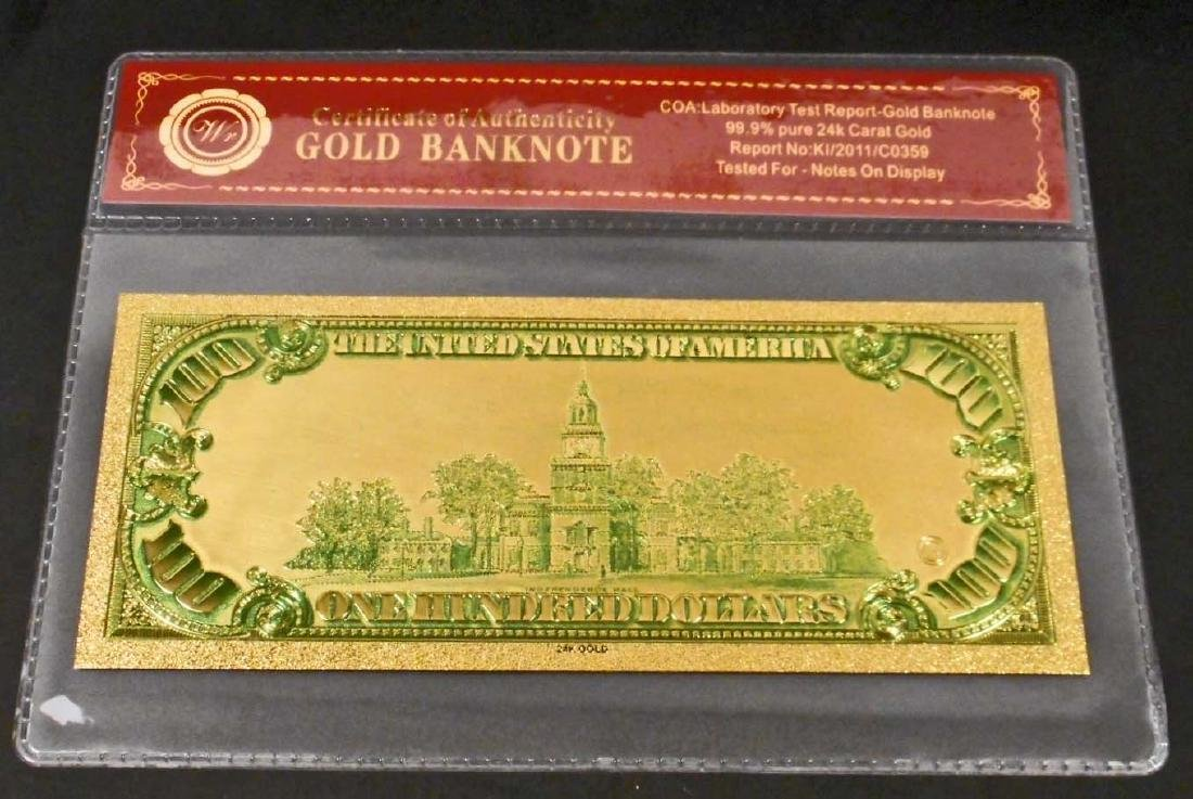 99.9% 24K ONE HUNDRED DOLLAR GOLD BANKNOTE W/COA - 2