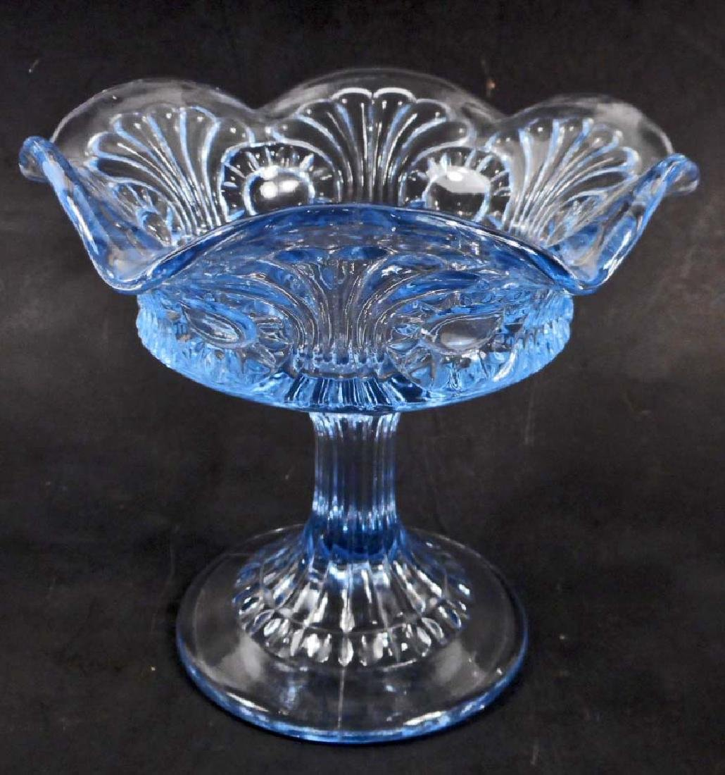 VINTAGE FENTON BLUE GLASS COMPOTE