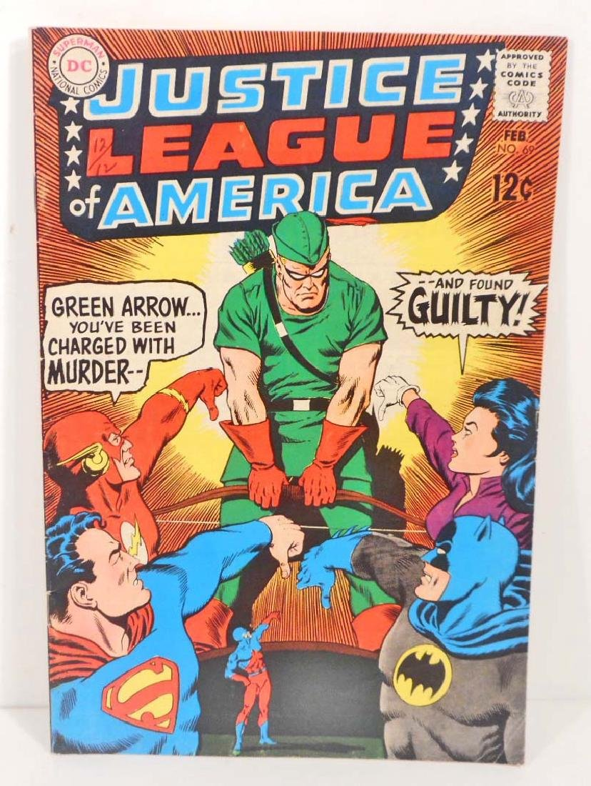 1969 JUSTICE LEAGUE NO. 69 COMIC BOOK W/ 12 CENT COVER