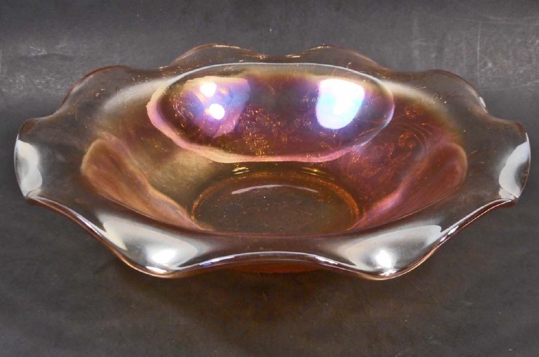 VINTAGE EMBOSSED CARNIVAL ART GLASS BOWL