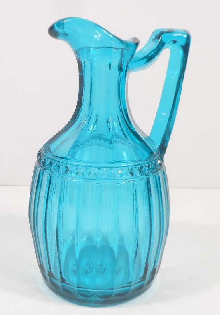 VINTAGE HAND BLOWN BLUE GLASS EWER