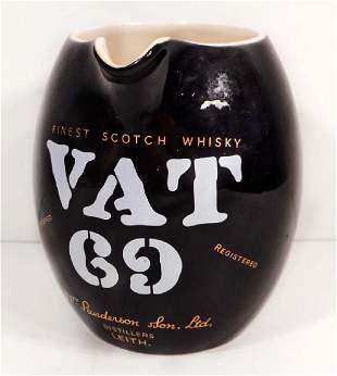 VINTAGE VAT 69 SCOTCH WHISKY ADVERTISING PITCHER