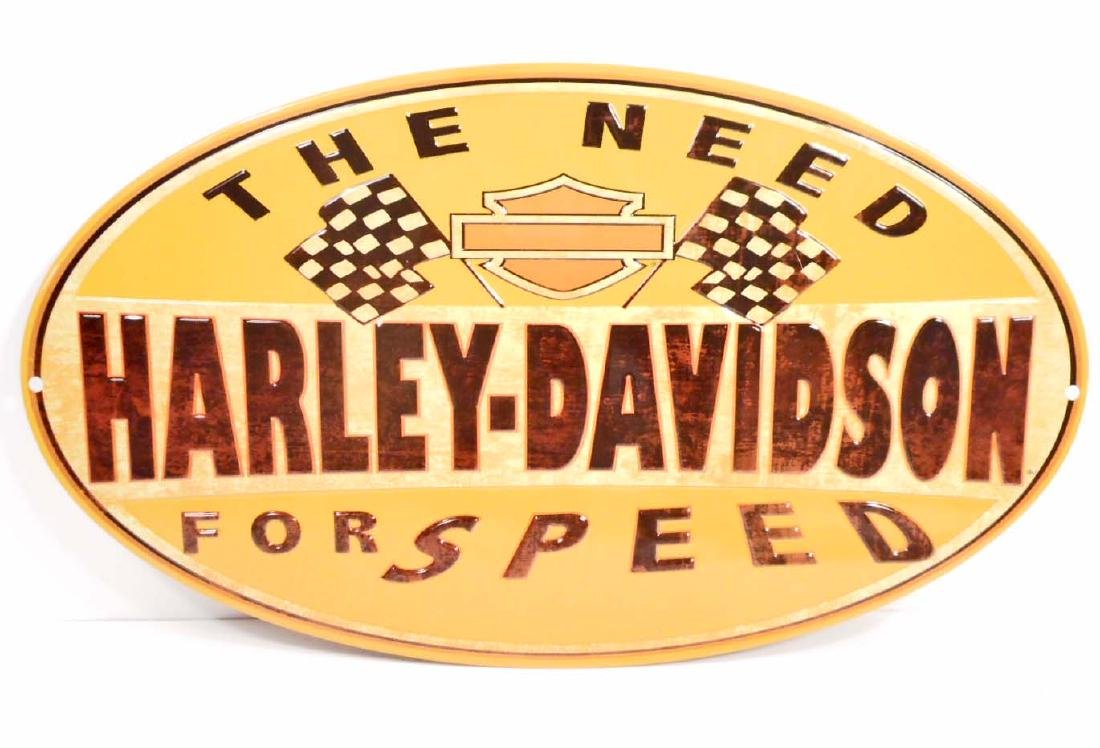 HARLEY DAVIDSON NEED FOR SPEED EMBOSSED METAL TIN SIGN