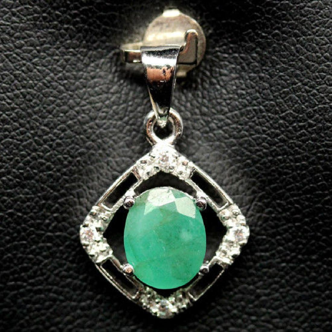 ALLURING! REAL! 7 X 8 mm. GREEN EMERALD & WHITE CZ 925
