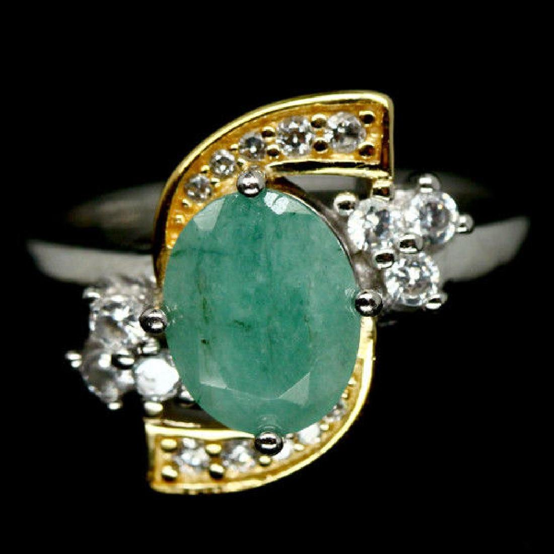 EXCEPTIONAL! NATURAL! 7 X 8 mm GREEN EMERALD & WHITE CZ