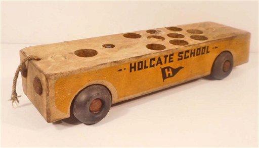 VINTAGE HOLGATE TOYS WOODEN SCHOOL BUS TOY